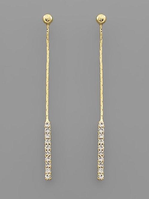 Crystal Bar Drop Earrings