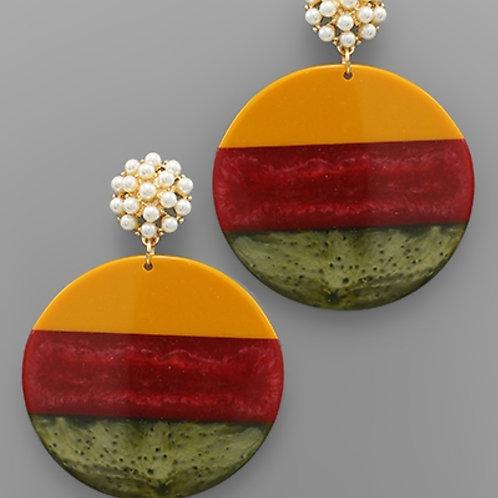 Pearl Cluster & Disk Earrings