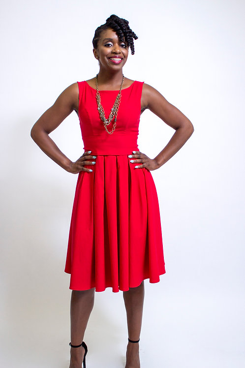 Red Flare Dress front View