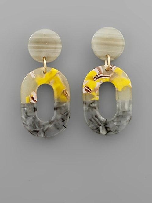 Twotone Acrylic Oval Earrings