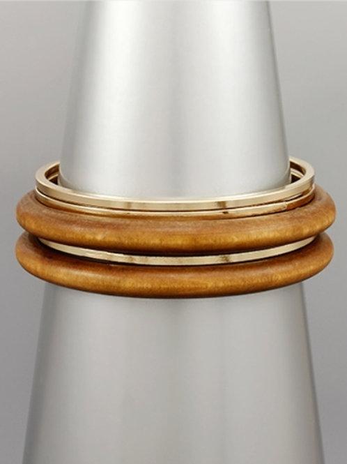 Wood & Metal Bangle Bracelet