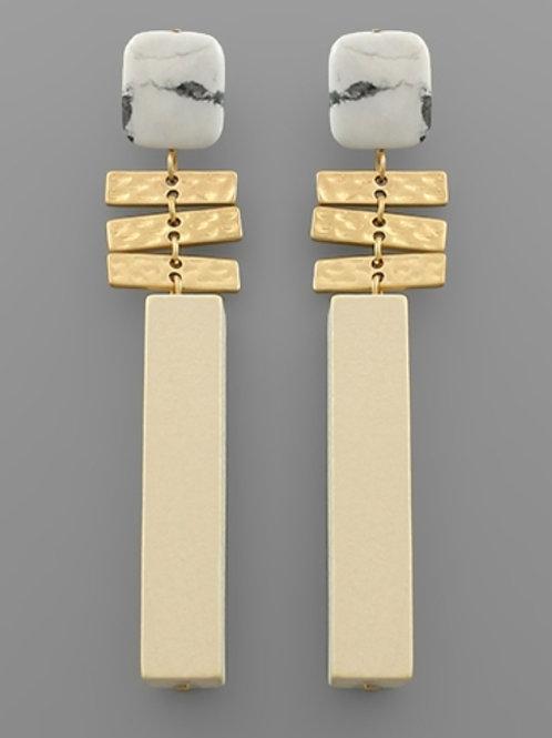 Square Stone & Wood Bar Earrings