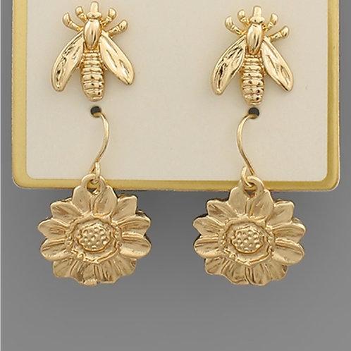 Flower & Bee Earring Set