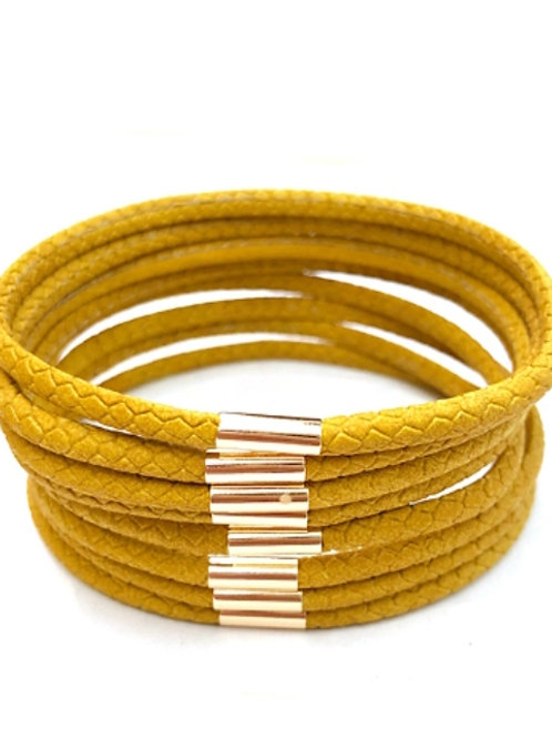 Multi Mustard Leather Bracelets