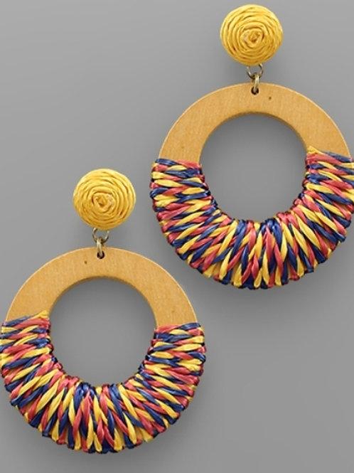 Raffia Wrap Ring Earrings