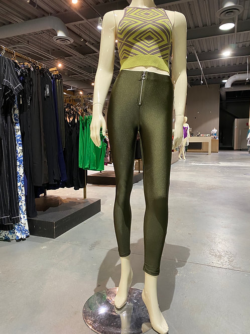 Green leggings with front zipper