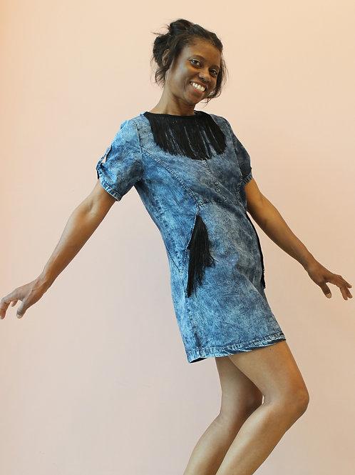 Denim dress with fringe details
