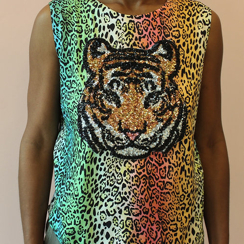 Animal print Top with tiger applique