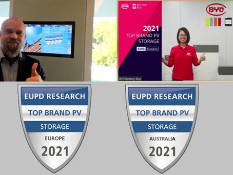 """BYD recibe el sello """"Top Brand PV"""" de EuPD para soluciones de almacenamiento por cuarto año consecut"""