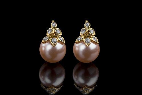 Six Petal Rosecut Earrings with Pink Pearl