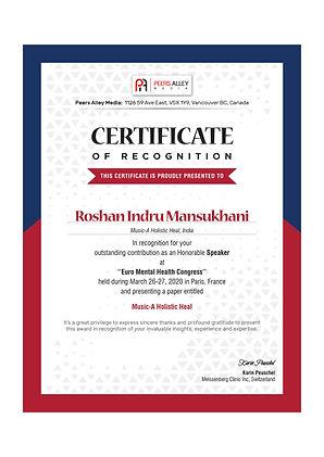 roshan mansukhani-music therapist in mum