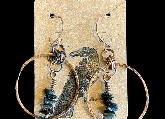Carla Leikam - Copper Earrings w/Onyx Nugget Drops