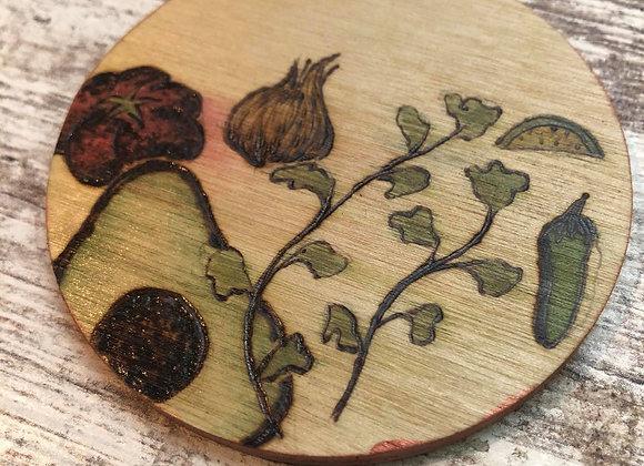Nicole Landreth - Guacamole Wood Burned Ornament