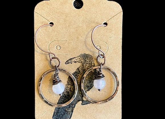 Carla Leikam - Copper Hoop Earrings w/Rose Quartz
