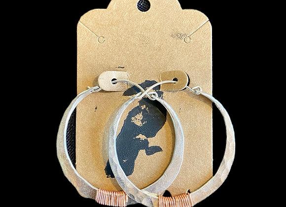 Carla Leikam - Sterling Hoop Earrings w/Copper Wrap