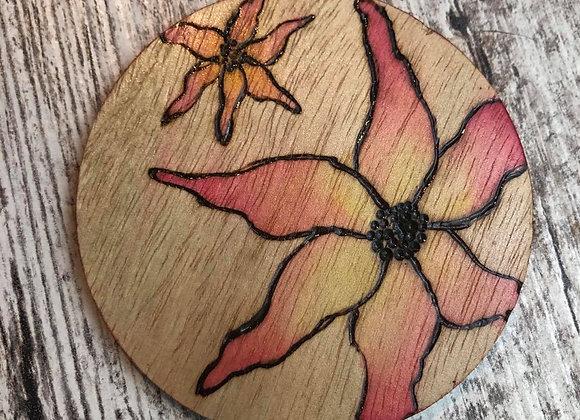 Nicole Landreth - Sunset Flowers #1 Wood Burned Ornament