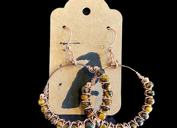Carla Leikam - Copper Wire Wrap Earrings w/Tiger Eye