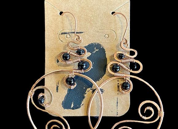 Carla Leikam - Large Copper Swirl Earrings w/Onyx