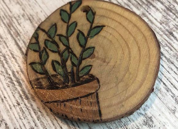 Nicole Landreth - Mini Plantas #9 Wood Burned Ornament