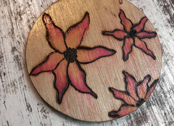 Nicole Landreth - Sunset Flowers #2 Wood Burned Ornament