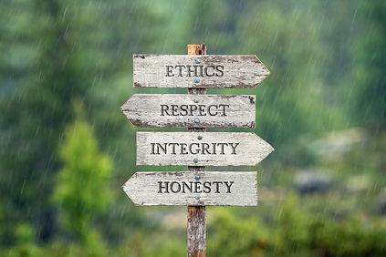 ethics respect integrity honesty text on