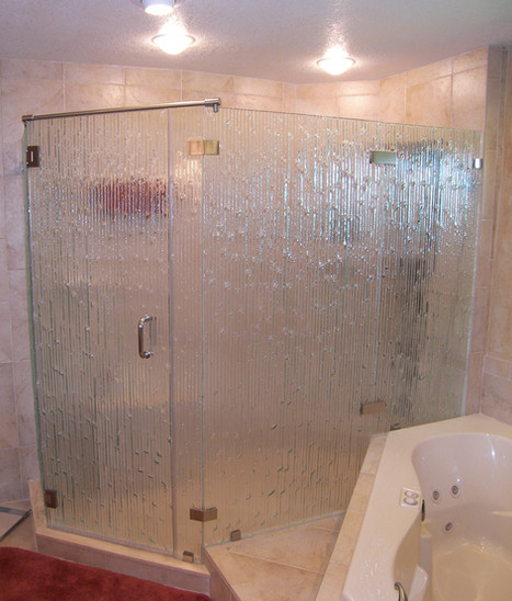 four piece textured glass frameless show
