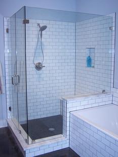 four pice frameless shower enclosure wit