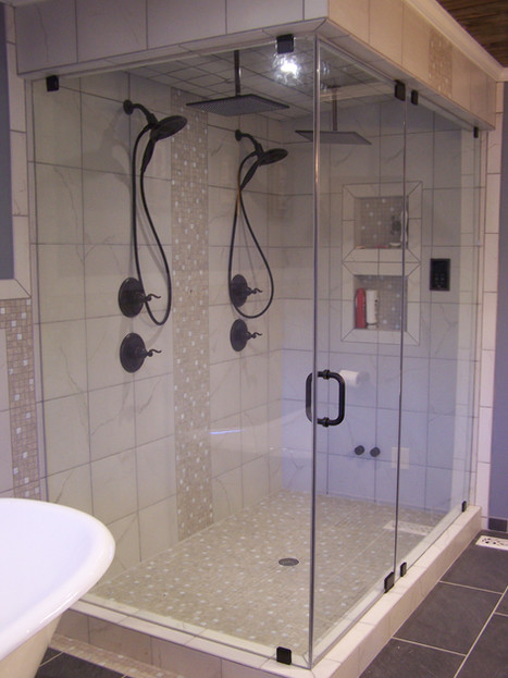 large three piece frameless shower in cl