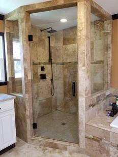 frameless shower door with glass windows