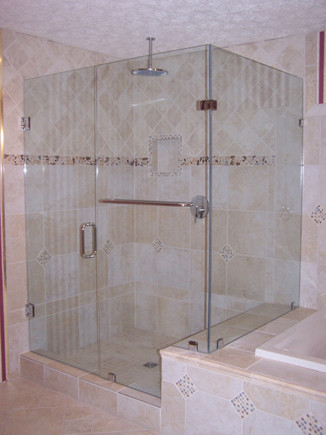 three piece frameless shower in trenton,