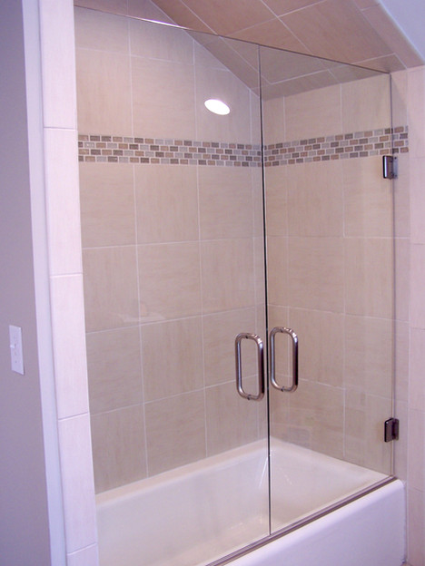 double door frameless shower in Dunlap,