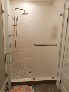 two pice frosted glass frameless shower