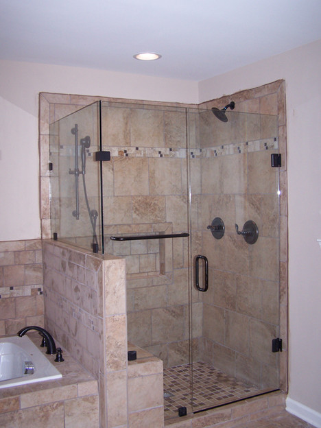 three piece framless shower with knee wa