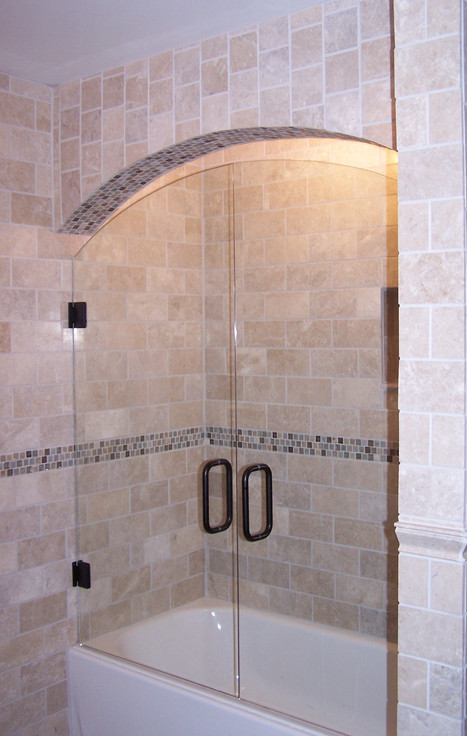 two piece arch shower over tub frameless