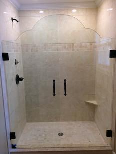 double door frameless shower pattern cut