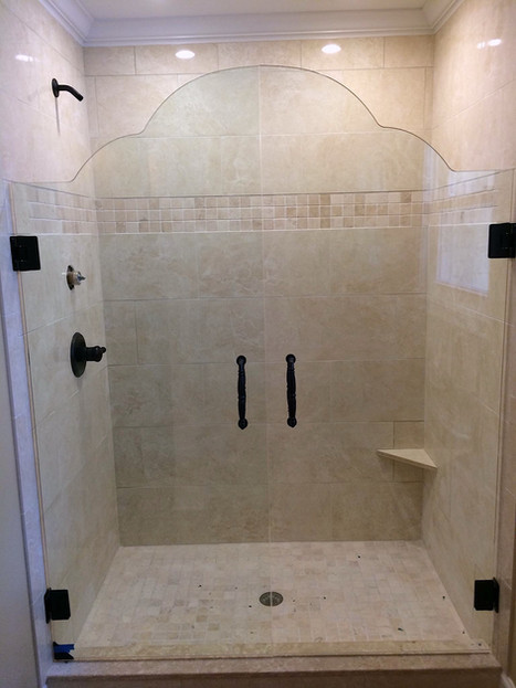 double door frameless shower pattern cut