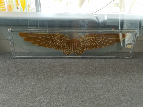 stained glass overlay eagle wings window