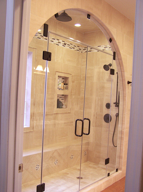five piece arched steam frameless shower
