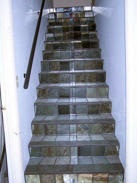 Steps with Antique Mirror Risers