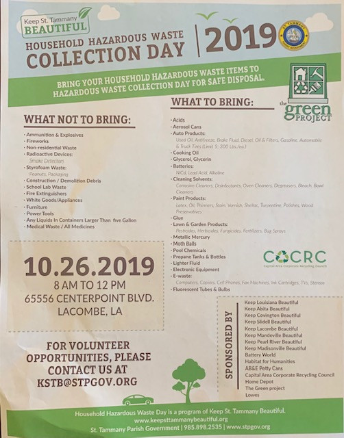 2019 Household Hazardous Waste Collection Day