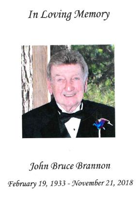 Remembering John Bruce Brannon 2/19/33 – 11/21/18