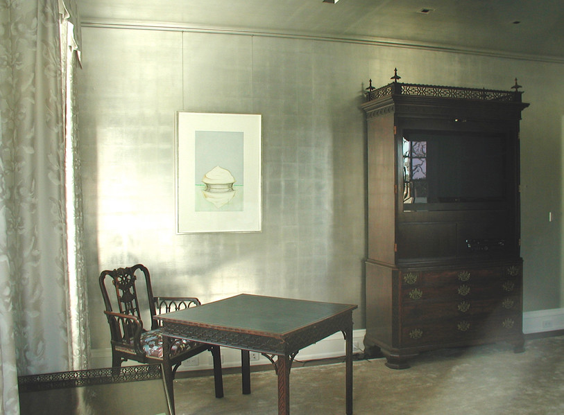 Entire wall & ceiling silver leaf with antique glaze