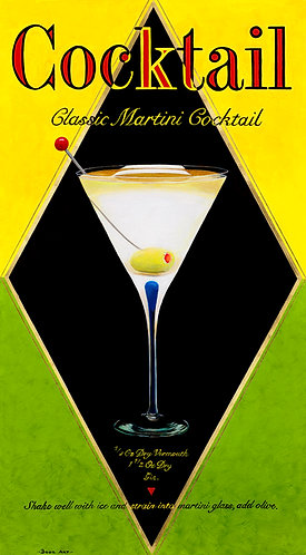 Classic Martini. Mixed media, Gold Leaf on Giclée