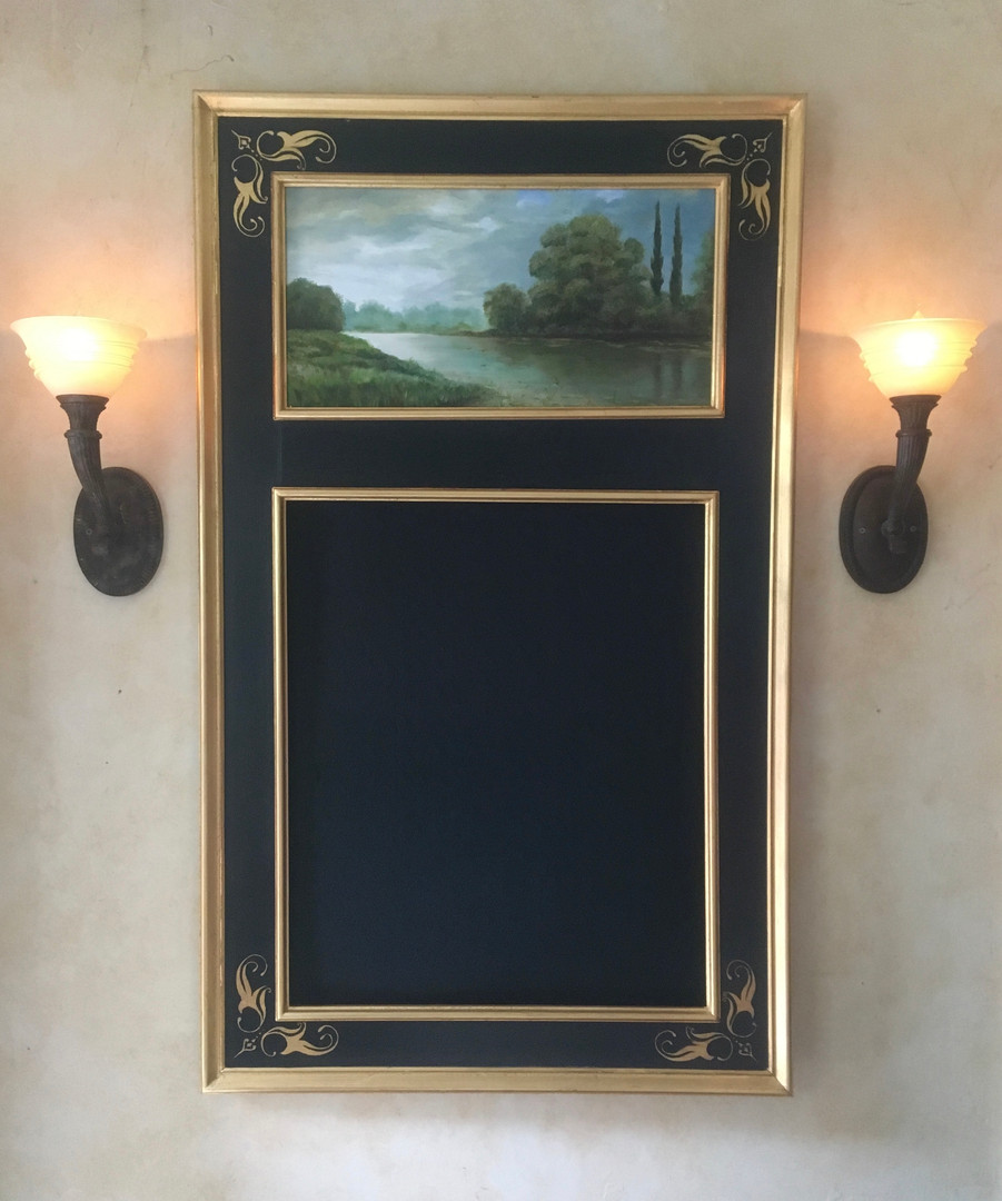 Parcel gilt Trumeau Mirror with original oil painting