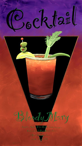 Bloody Mary. Mixed media, Copper Leaf on Giclée