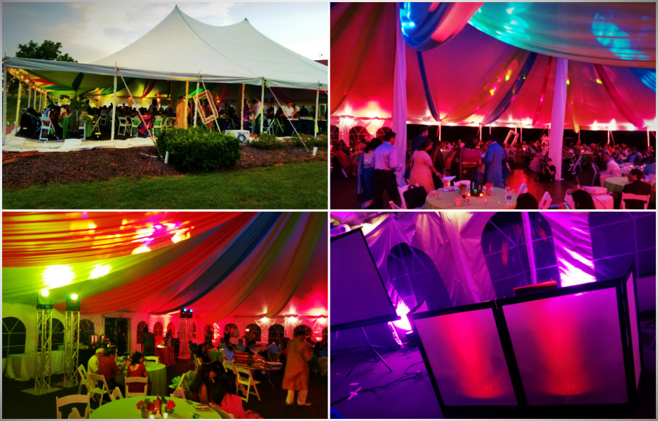 17 Dj Tiger Premium Outdoor Tent Setup with Uplighting and Special Effects