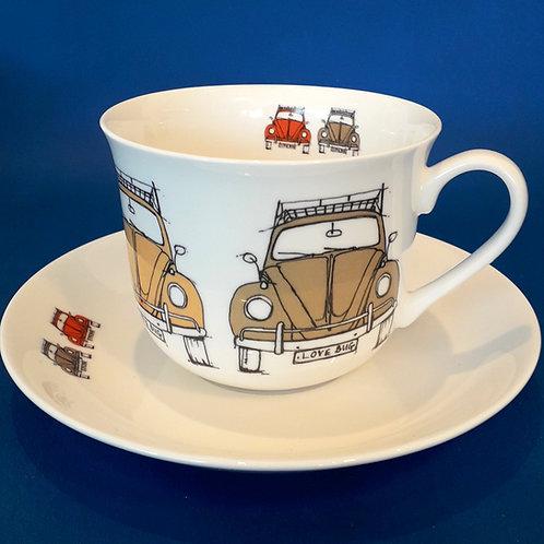Large Tea Cup & Saucer - Beetle