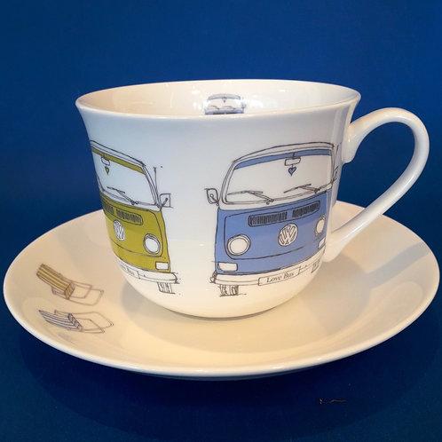Large Tea Mug & Saucer - Bay