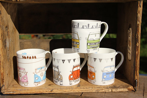 Campervan Collection T Mugs, Set of Four