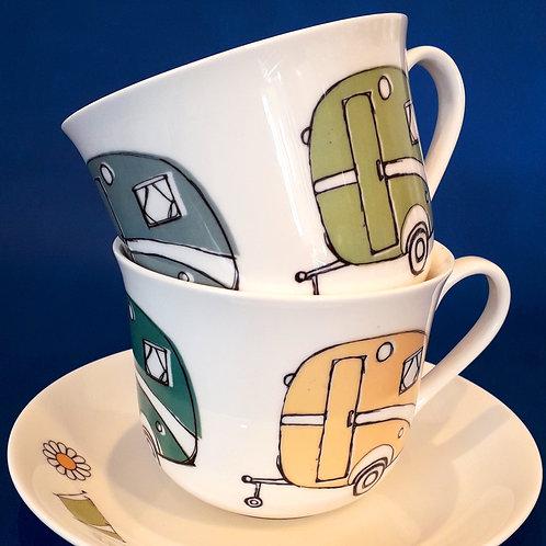 Large Tea Cup & Saucer - Caravan